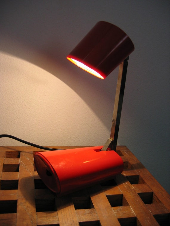 Vintage Tensor LAMP.  Red mod light. Working.  The Cricket.  Made in USA.  Modern Panton Eames era. Mid century.