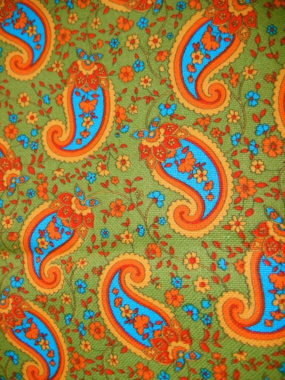 60's FABRIC Scraps.  Vintage. Groovy fabrics in Green tones. Eames Era, Mid Century Modern.