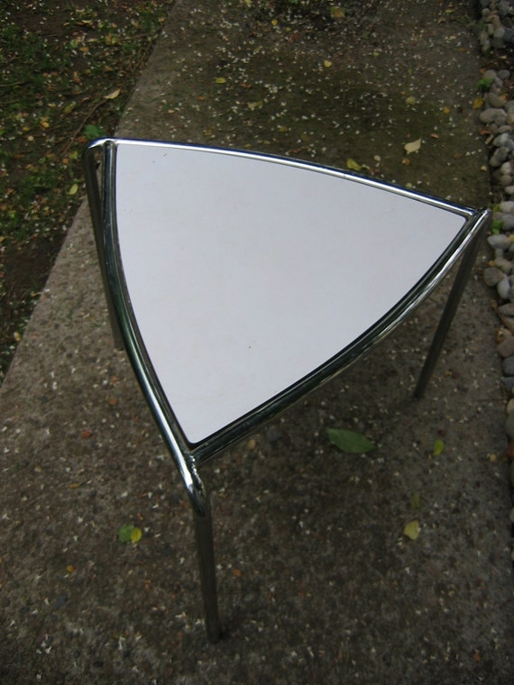 Small, Vintage, 1970's Triangle Table.  Side table.  Chrome and Laminate.  Guitar Pick.  Mid century modern, Danish Modern, Eames era. Mod.