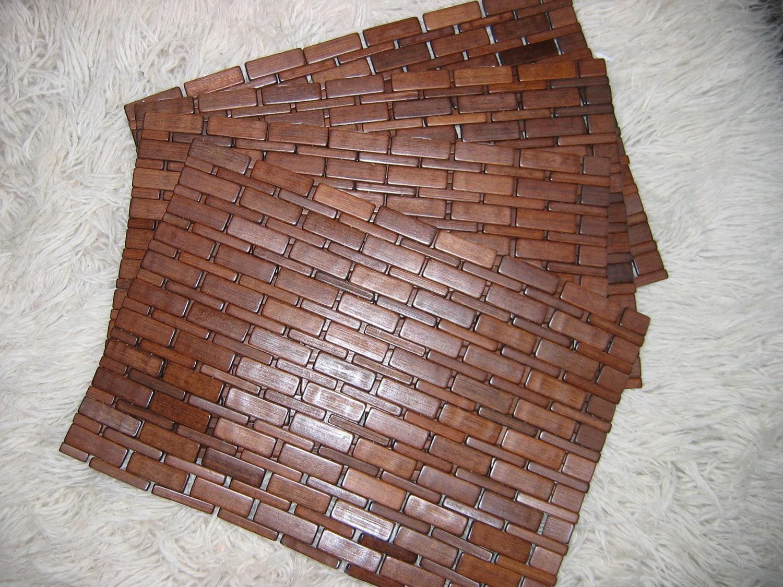 4 four finished wood placemats destash wood tiles danish