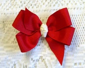 "Everyday bow 3"" red with cream center knot - Pinwheel style"