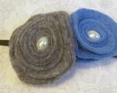 gray and blue felt flowers on skinny elastic headband