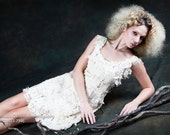 Custom Made Lovely Hand-Embroidered Ivory and Off White Lace Dress