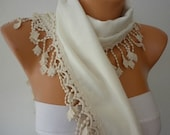 Women Pashmina  Scarf  - Cotton Scarf - Cowl Scarf  with Lace  Edge -  White Scarf - fatwoman bridesmaid gift