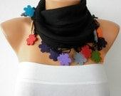 ON SALE - Black Scarf  - Pashmina  Scarf -  Cowl Scarf Felt Flower Gift Ideas Women's Fashıon Accessories   -