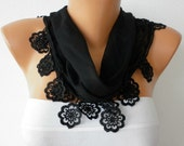 Black Scarf  - Cotton  Scarf - Headband Necklace Cowl with Lace Edge   -