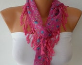 Pink Scarf - Women Scarf - Headband Necklace Cowl