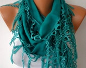 Teal Scarf  -  Pashmina Scarf  -  Cowl Scarf  with Lace Edge - fatwoman - fatwoman