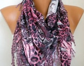 Pink Leopard Print Scarf, Summer Fashion, Easter Animal Scarf Cowl  Scarf  Gift Ideas For Her Women Fashion Accessories