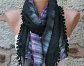 Black & Pink Ombre Cotton Scarf,Fall Shawl, Batik Design Cowl bridesmaid gift Gift Ideas For Her Women fashion Accessories Pompom Scarf