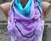 Multicolor Scarf -  Cotton Scarf  Cowl with  Lace Edge