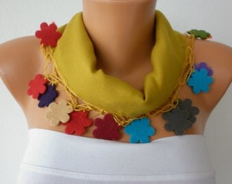 Mustard Pashmina Scarf,Fall Winter, Necklace Felt Flower Cowl Gift Ideas For Her Women Fashion Accessories