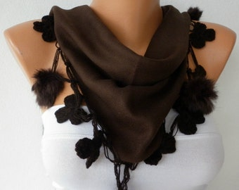 Dark Coffee Pashmina Floral Pompom Scarf, Winter Shawl Cowl Scarf Bridesmaid Gift Gift Ideas For Her Women Fashion Accessories Scarves