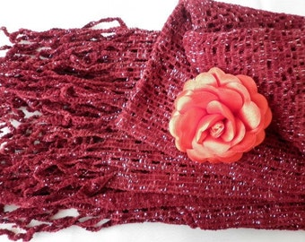 Burgundy Velvet Scarf,Fall Winter Scarf,Formal Scarf,Bridal Scarf,Bridesmaid Gift,Gift Ideas For Her,Christmas Gift,Women Scarves,Wedding