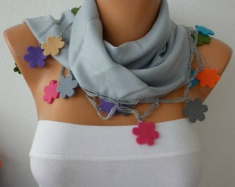 Light Gray Pashmina Scarf,Fall Winter Necklace Felt Flower Cowl Gift Ideas For Her Women Fashion Accessories,Christmas Gift