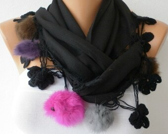 Black Scarf  - Pashmina  Scarf  - Cotton Scarf -  - Cowl with Lace and Pompom Edge - Black ///