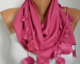 Pink Pashmina Scarf Teacher Gift Winter Accessories Cowl Shawl Bridal Accessories Gift Ideas For Her Women Fashion Accessories Scarves