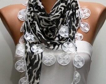 Black & White Zebra Print  Scarf Shawl Scarf  Cowl Scarf Gift Ideas For Her  Women Fashion Accessories  - fatwoman