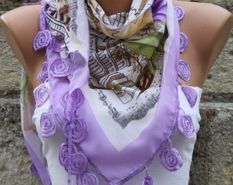 Lilac Souvenir Floral Cotton Scarf,Teacher Gift,Summer Scarf,Bridesmaid Gift, Cowl Scarf Gift Ideas For Her Women Fashion Accessories