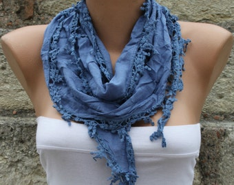 Blue Scarf Cotton Scarf Easter Cowl Scarf Gift Ideas For Her Women Fashion Accessories Mother's Day Gift Holiday Fashion