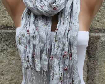 Grey Floral Scarf Spring Summer Shawl Scarf Cowl Scarf Bridal Accessories Bridesmaid Gift Gift Ideas For Her Women Fashion Accessories