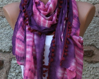 Purple Ombre Summer Shawl,Batik Design Cowl Scarf bridesmaid gift Gift Ideas For Her Women fashion Accessories Pompom Scarf,Teacher Gift