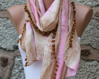 Pink & Milky Brown Ombre Scarf,Multicolor,Pareo,Beach Wrap, Women Shawl Scarf, Necklace Cowl