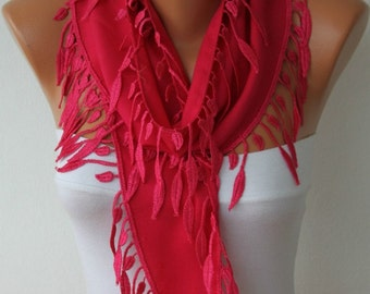 Hot Pink leaves Pashmina Scarf  Summer Scarf, Birthday Gift Easter Cowl Scarf Gift Ideas For Her Women Fashion Accessories Mother's Day Gift