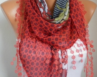 Red Scarf Cotton Scarf, Summer Scarf,Teacher Gift Cowl Scarf Necklace Bridesmaid Gift Gift Ideas For Her Women's Fashion Accessories