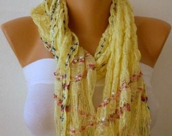 Yellow - Brown - Lilac Knitted Scarf  Winter Accessories Shawl  Cowl  best selling scarf Gift Ideas For Her Women's Fashion Accessories