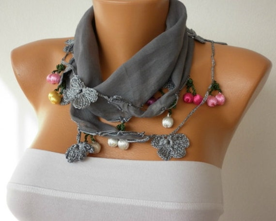 Gray Cotton Scarf,Christmas Gift, Cowl Scarf  Necklace Gift Ideas For Her Women' Fashion Accessories