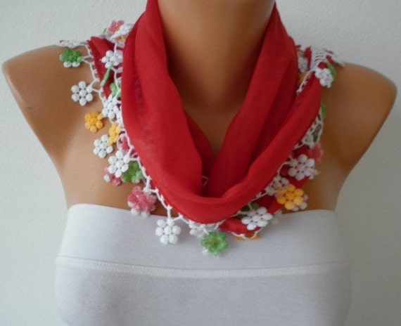 ON SALE -Valentine's Day 50% OFF - Red  Scarf  - Cotton  Scarf -Cowl with Lace Edge   -