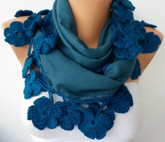 Women Pashmina  Scarf  - Cotton Scarf - Headband - Cowl with Lace  Edge - Teal