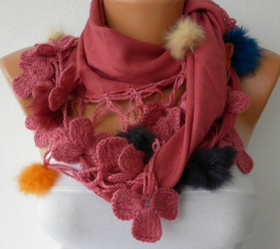Brick Red Scarf Winter Scarf Crochet Shawl Cowl Scarf Gift Ideas For Her Women's Fashion Accessories Mother's Day  Gift