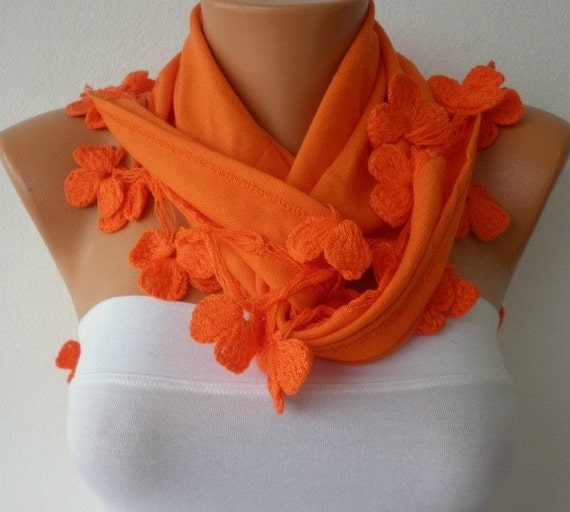 Pashmina  Scarf  - Cotton Scarf -  - Cowl with Lace Edge -  Portland Orange