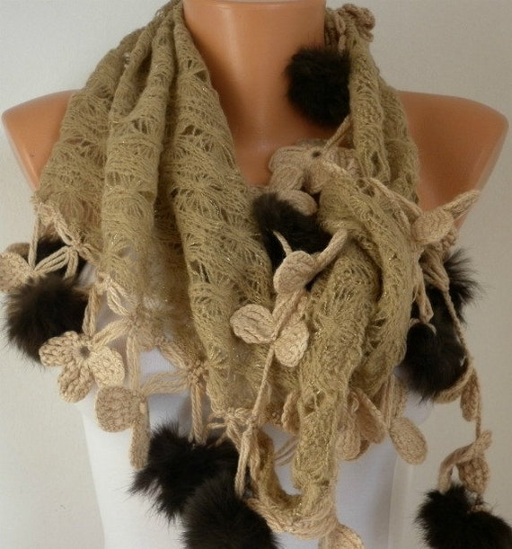 Knitted Fabric  Scarf  -  Cowl Scarves with Lace Pompom Edge - Milky Brown