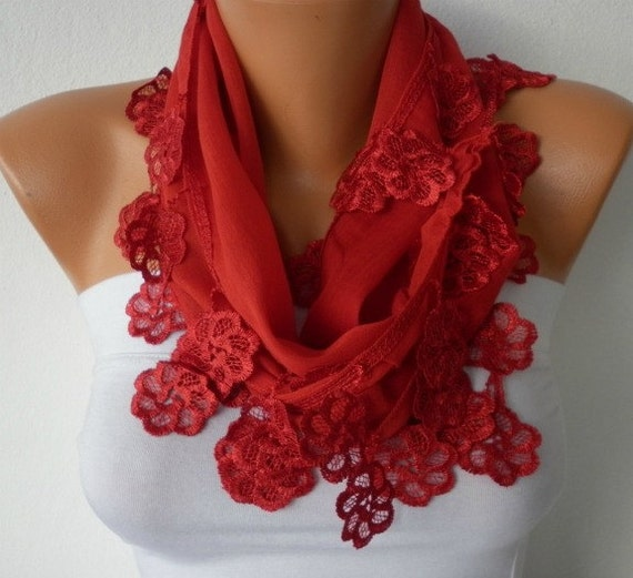 Red Scarf  - Cotton  Scarf - Headband Necklace Cowl with Lace Edge