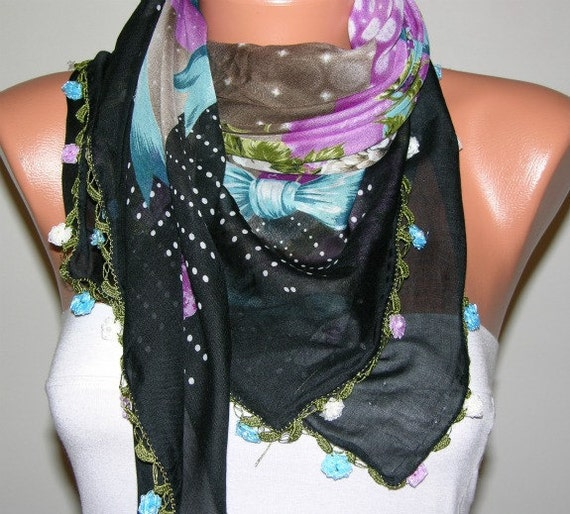 Turkish Anatolians Scarf  - Oya - Yemeni - Cowl  Headband Necklace - Multicolor