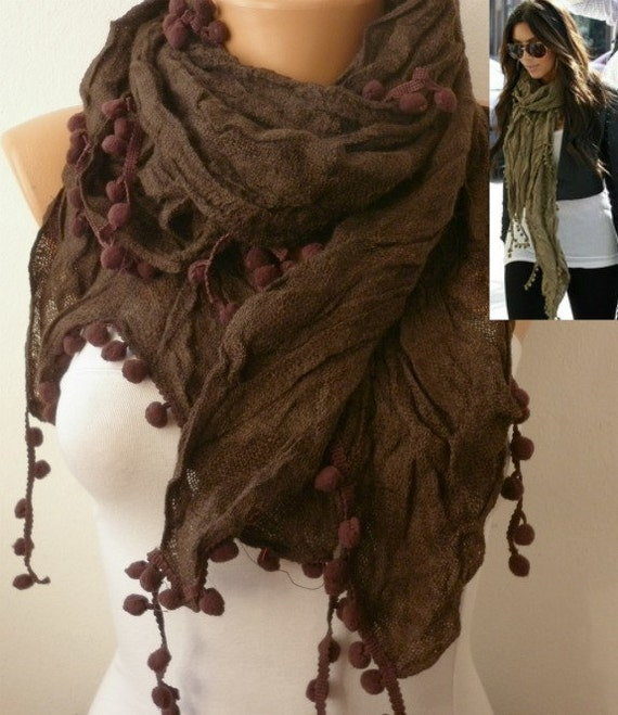 OOAK SCARF,Brown Pompom Scarf,Shawl, Fall Winter Accessories Gift Ideas For Her  Cowl Scarf  Women Fashion Accessories Christmas Gift
