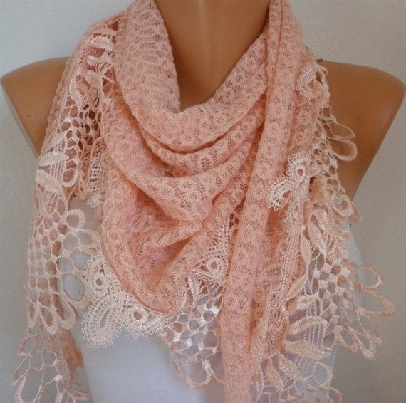 Salmon Scarf  -  Headband Necklace Cowl with Lace Edge