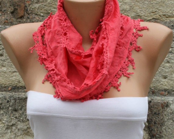 Red Cotton Scarf, Teacher Gift Easter, Necklace Cowl Scarf Bridesmaid Gift,Gift Ideas For Her Women Fashion Accessories