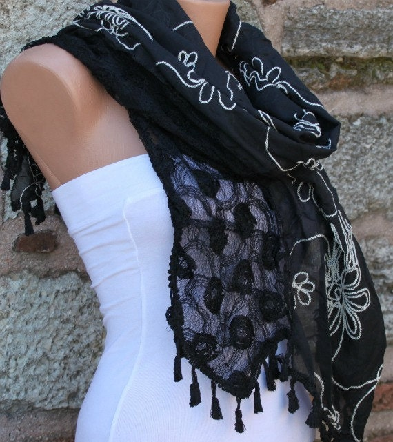 Black Tassel Embroidery Scarf,Wedding Shawl, Cowl Scarf, Bridal Scarf, Bridesmaid Gift, Gift Ideas For Her, Women Fashion Accessories