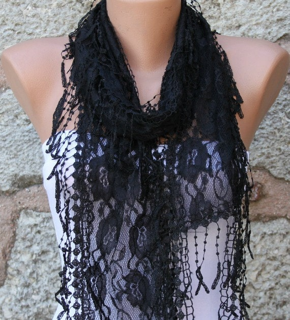 Black Lace Scarf, Wedding Shawl,Evening Scarf, Cowl Scarf,Bridal Accessories, Bridesmaid Gift, Gift Ideas For Her, Women Fashion Accessories