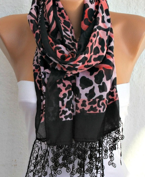 Black &red  Leopard  Print Cotton Scarf,summer Shawl Animal Scarf,birthday Gift, Cowl Scarf Lace Gift Ideas For Her Women Fashion Acessories