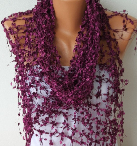 Purple Shawl  - Scarf  - Women - Handmade Work - Cowl - Neckwarmer