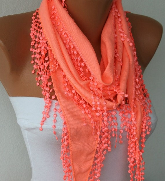 ON SALE - Coral Scarf Pashmina Scarf  - Shawl -  Cowl Scarf with Lace Edge - fatwoman