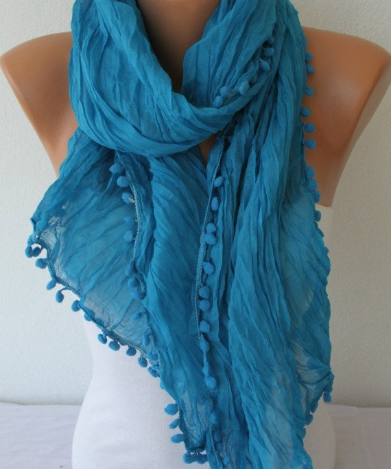 ON SALE - Women Shawl Scarf - Cowl Scarf -  Blue - fatwoman