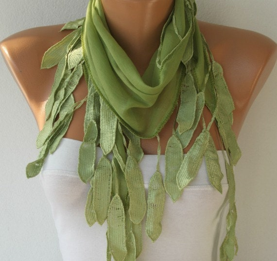 Scarf ,  Cotton Shawl Cowl with lace Edge  - Green  Grass Green - fatwoman