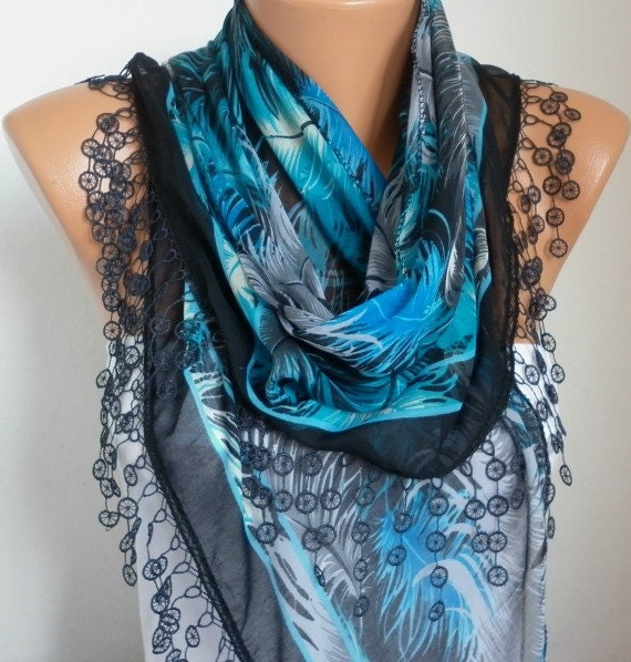 Blue & Black Feather Scarf Summer Necklace Oversize Scarf Shawl Cotton Cowl Gift Ideas For Her Women's Fashion Accessories Mother's Day Gift