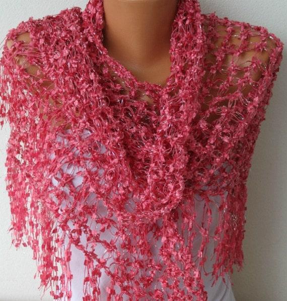 Hot Pink Shawl  - Scarf  - Crochet Scarf Shawl Women - Handmade Work - Cowl - Neckwarmer - fatwoman